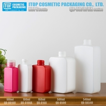 QB-D 2017 new square hdpe plastic conditioner shampoo bottle 100ml 160ml 500 ml 540ml cosmetic handwash containers