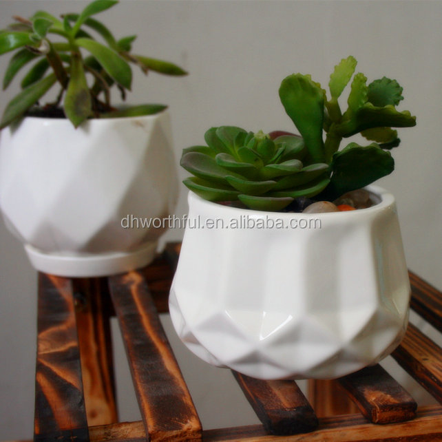 Round Mini Indoor Planter Porcelain Succulent Pots flower pot