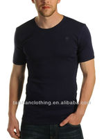 Wholesale cotton/spandex mans sexy muscle fit body blank plain short sleeve blue t shirt