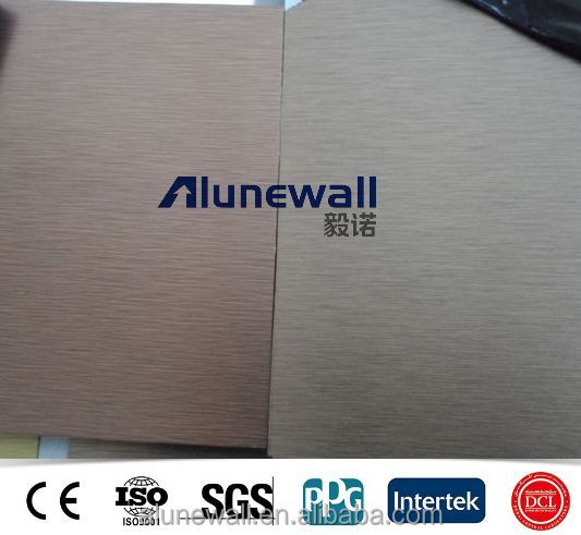 Alunewall High strength brush A2/B1 Fireproof Aluminum Silver ACP Composite Panel