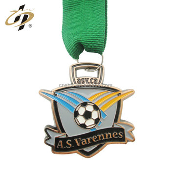 3D football sports custom challenge metal medals with sublimation ribbon