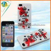 Crown Keep Calm And Kill Zombies Design Cover For Apple Iphone 4G 4S Accessories PC Mobile Phone Hard IMD Case