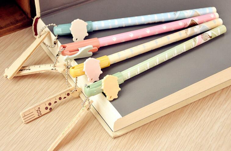 wholesale DIY creative stationery kids personalized Novelty gel pen cute sign pen with wooden ruler chain promotional gifts