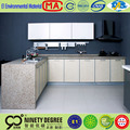 waterproof quartz stone as visible side panel with wood door panel cabinet