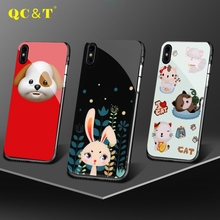 Newest Design Cute Case Cell Phone Cover TPU and PC Stick Glass Printing Case For iphone X