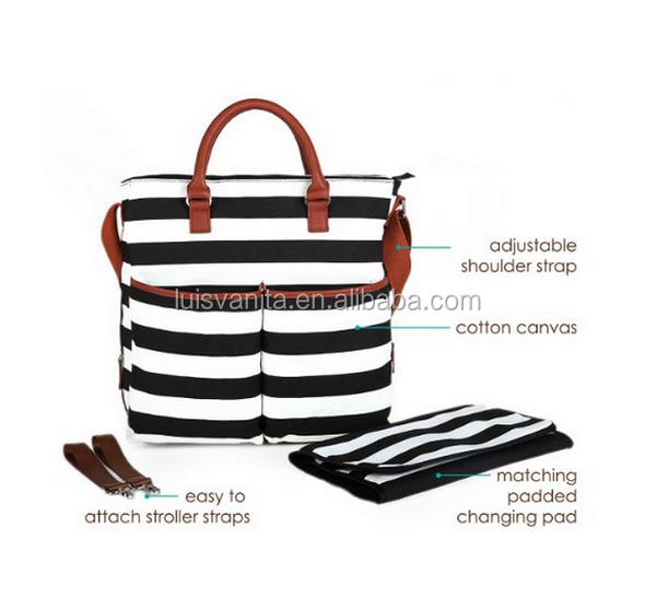 Black and White Stripe Canvas Diaper Handbag With Changing Pad