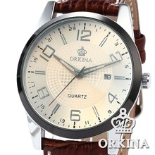 Orkina Coffee Leather Stainless Steel Case Chrono Quartz Men's Analog Sport Watch