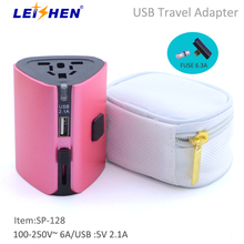 Leishen brand SP 128 Travel Universal All in One Worldwide Travel Power Plug Wall AC Adapter Charger with USB Charging