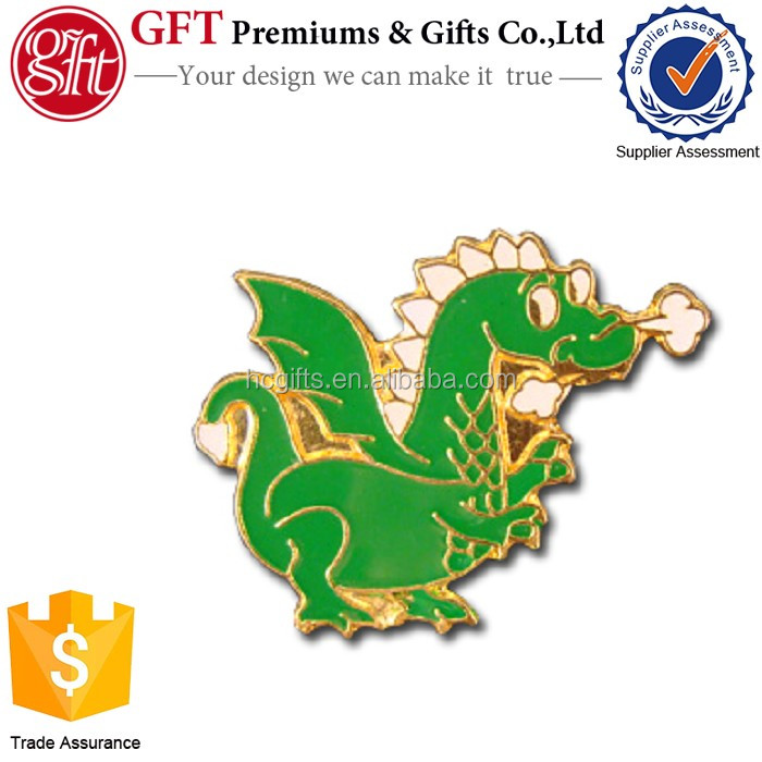 Custom 1 Inch Gold Plated soft enamel dragon lapel pin