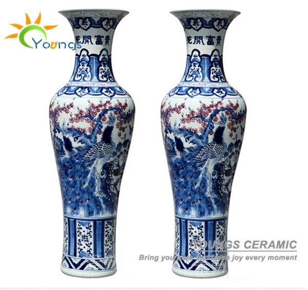 Beautiful Chinese Tall Hand Painted Ceramics Floor Vases