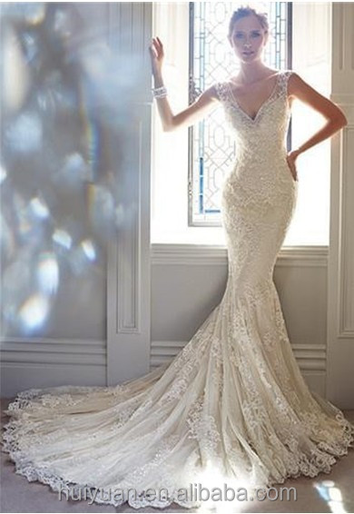 high quality deep v neck lace mermaid beaded very sexy wedding dresses