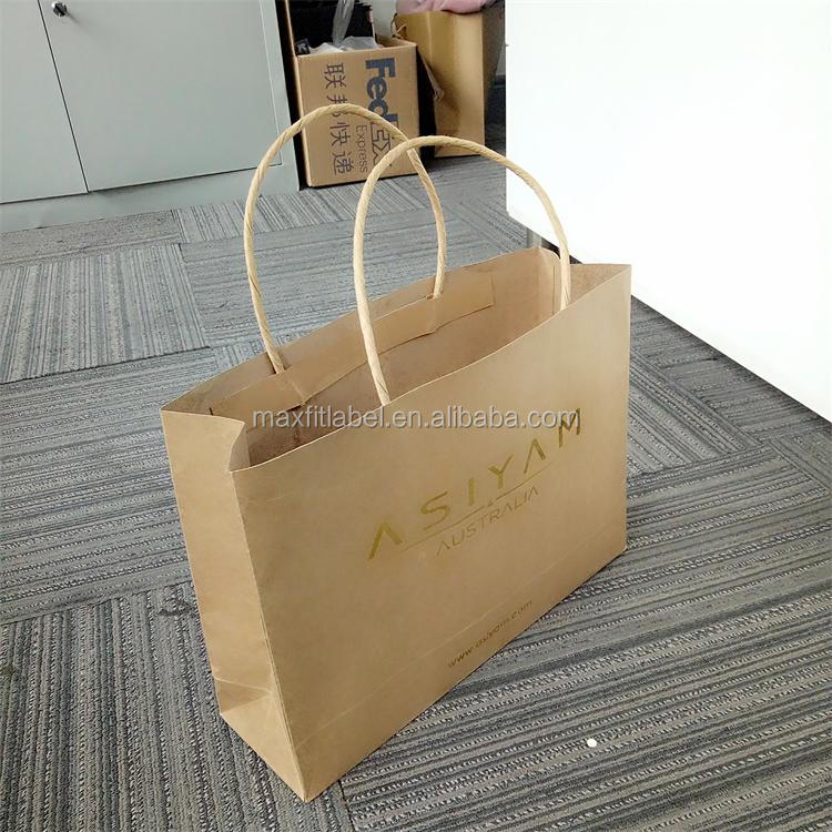 china factory custom eco friendly recycled brown craft paper bags with gold stamping logo