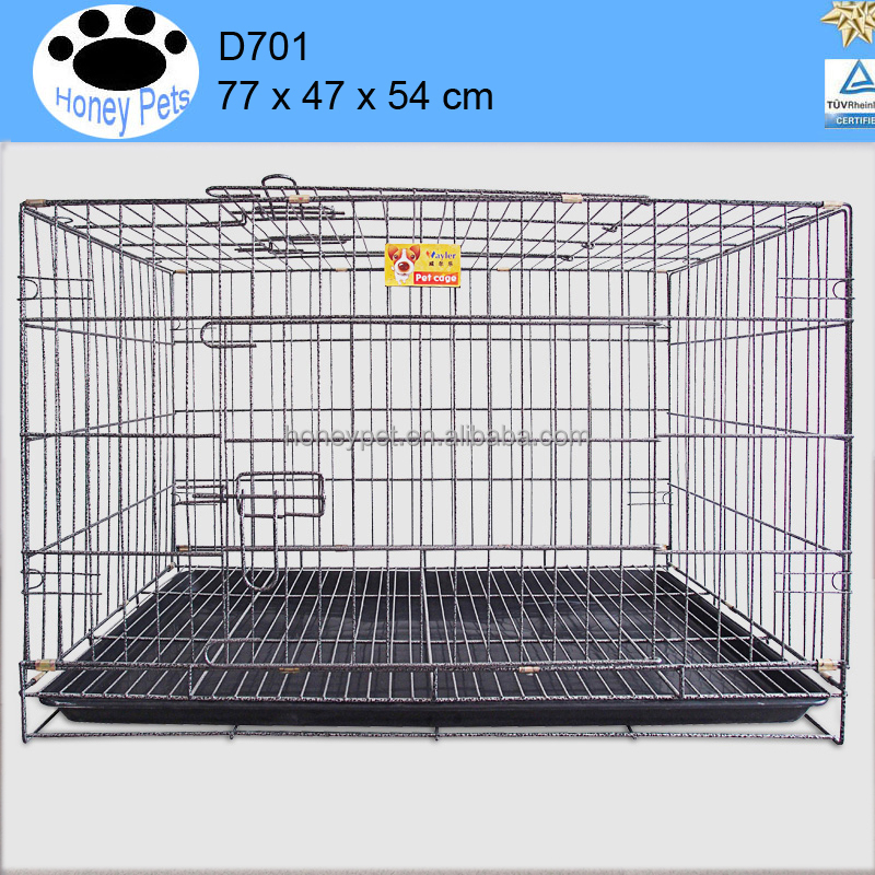 Folding Wire Dog Crate Two Door Collapsible dog cage alu