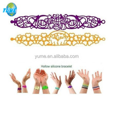 Custom Fashion Hollow Tattoo Silicone Bracelet with 36 different design for Party/Christmas Gifts
