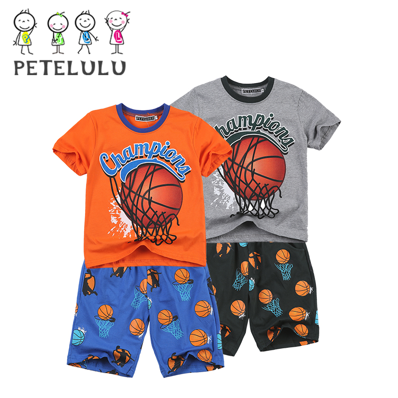 Summer Children Sleeping Wear Boys Basketball Printed Clothes Set Fancy Pajamas