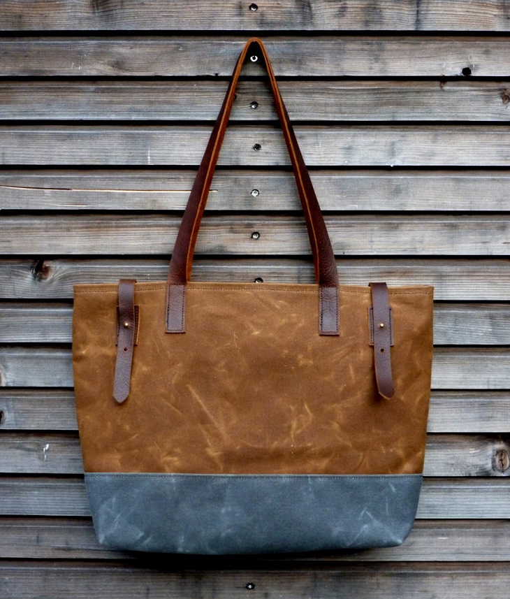Custom two-tone waxed canvas tote bag with leather handle