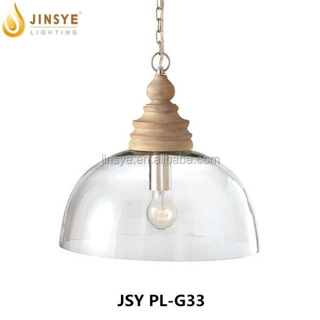 Vintage hanging led light wooden glass commercial pendant light