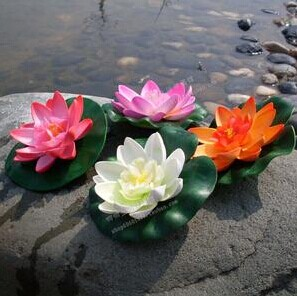 2014 SJ AF098 Wholesale 10cm artificial lotus flower for pool decor plastic lotus water lily artificial floating lotus flower