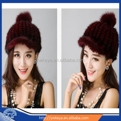 New style fashion knitted mink fur hat winter lady's caps