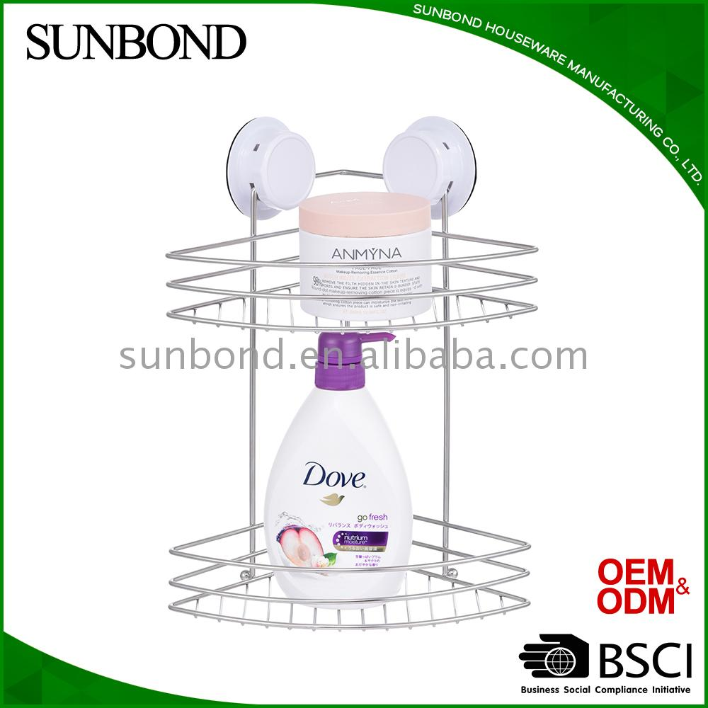 Hot selling bathroom corner shelf with suction shower rack