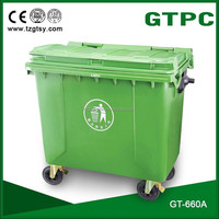large wheeled plastic dustbin