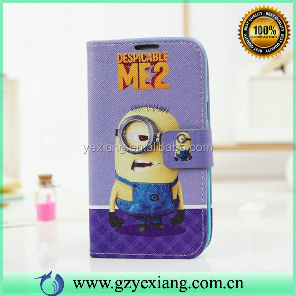 Pouch Leather Back Cover Minion Case For Samsung Galaxy S4 Mini I9190