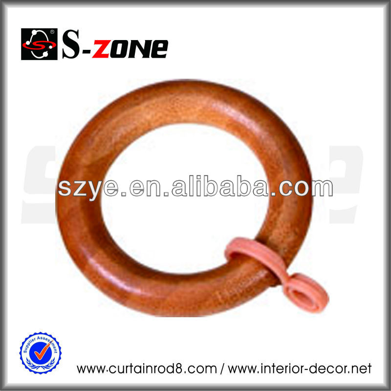European style interior decorative popular square curtain rod rings, wooden curtain loop rings design