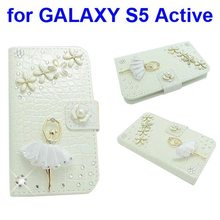 3D Bling Rhinestone Design Wallet Leather Flip Case Cover for Samsung Galaxy S5 Active