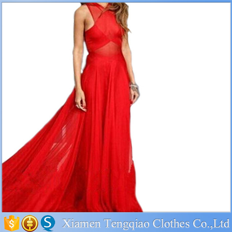 Women's Latest Backless Chiffon Long Red Evening Dress