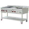 Restaurant Equipment Gas Range 2 Burners With Lava Rock Grill,Griddle And Fryer