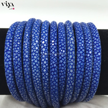 Genuine High Class 5mm Blue Stingray Leather Skin Cord 6mm for custom jewelry