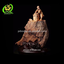 High quality natural root carving beautiful restaurant decoration wood crafts buddha statue