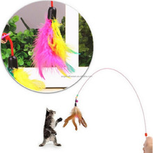 Kitten Cat Toy Mouse On A Rod Teaser Bell Feather Play Pet Dangler Wand NEW AD433