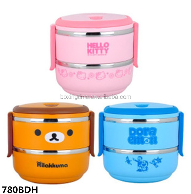 stackable stainless steel round bowls lunch box bento box for kids food warmer buy korean. Black Bedroom Furniture Sets. Home Design Ideas