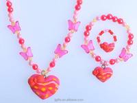 2016 New Design Polymer style Clay Gifts For 2 Years Old Girls Jewelry Beaded Necklace Heart Bracelet