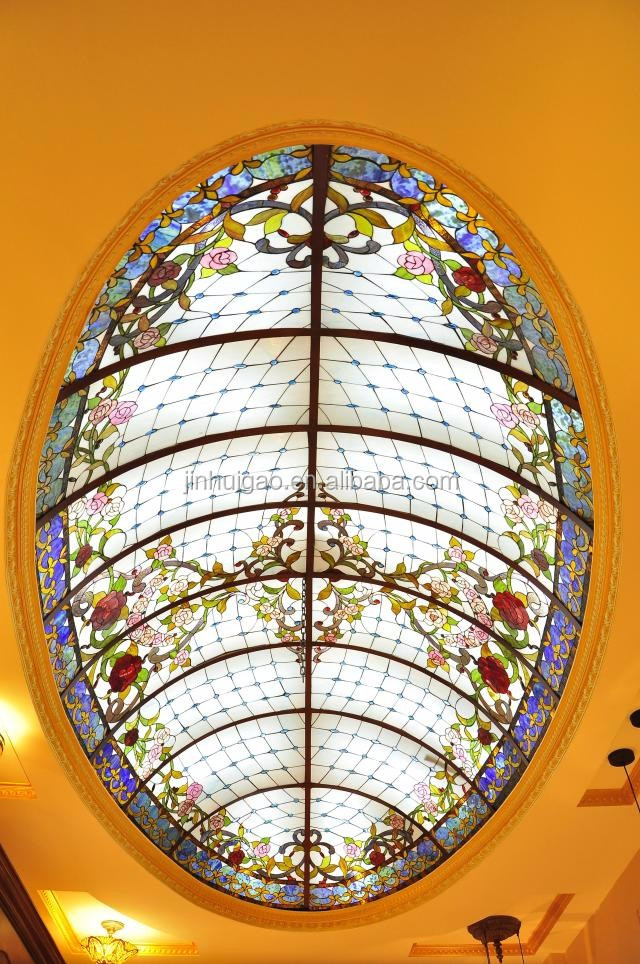 oval ellipse stained glass skylight dome for ceiling