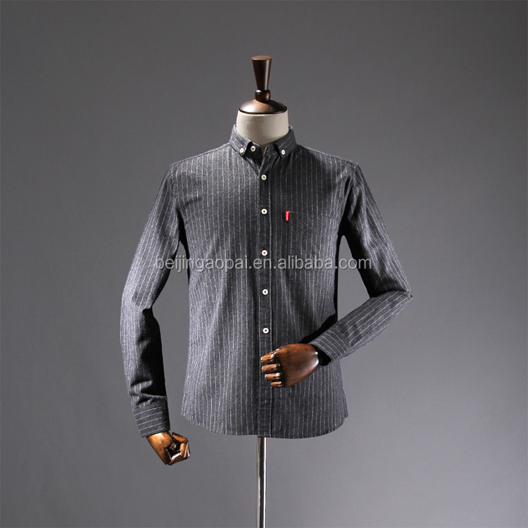 hot sale chinese collar design mens casual double shirts for men