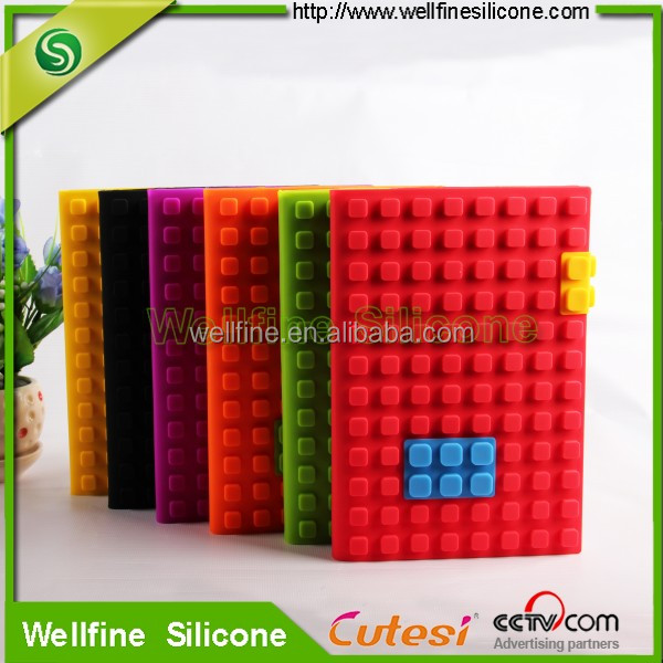 Food grade silicone cover school diary with blocks design