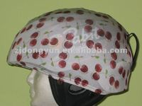 Helmet Cover with cherry printed-material-87% Polyester,13% Spandex