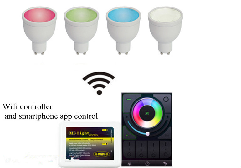 FUT010 GU10 4W colored led rgbw wifi enabled led bulb intelligent rgbw smart light