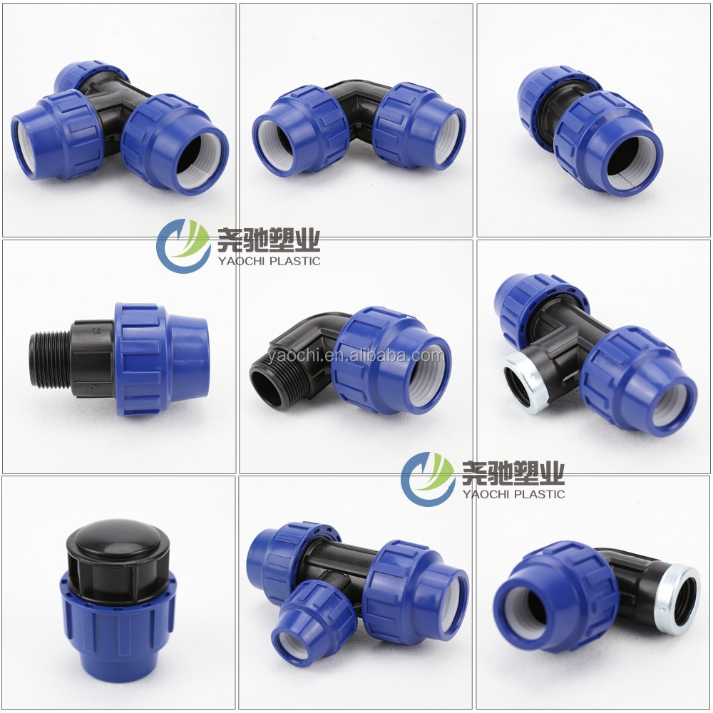 Plastic Material HDPE pipe <strong>Fittings</strong> PP Push Fit Compression <strong>Fittings</strong>