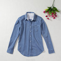 Ladies enzyme wash denim shirt long sleeve custom cotton shirt women