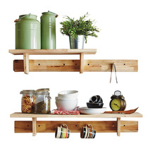 Wooden Storage Racks Bathroom Kitchen Wall Mounted Hanging Hooks double-decker Wall <strong>Shelf</strong>
