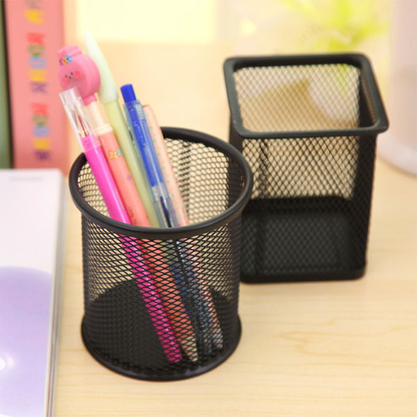 WJ021 square custom desk metal mesh pen holder wholesale