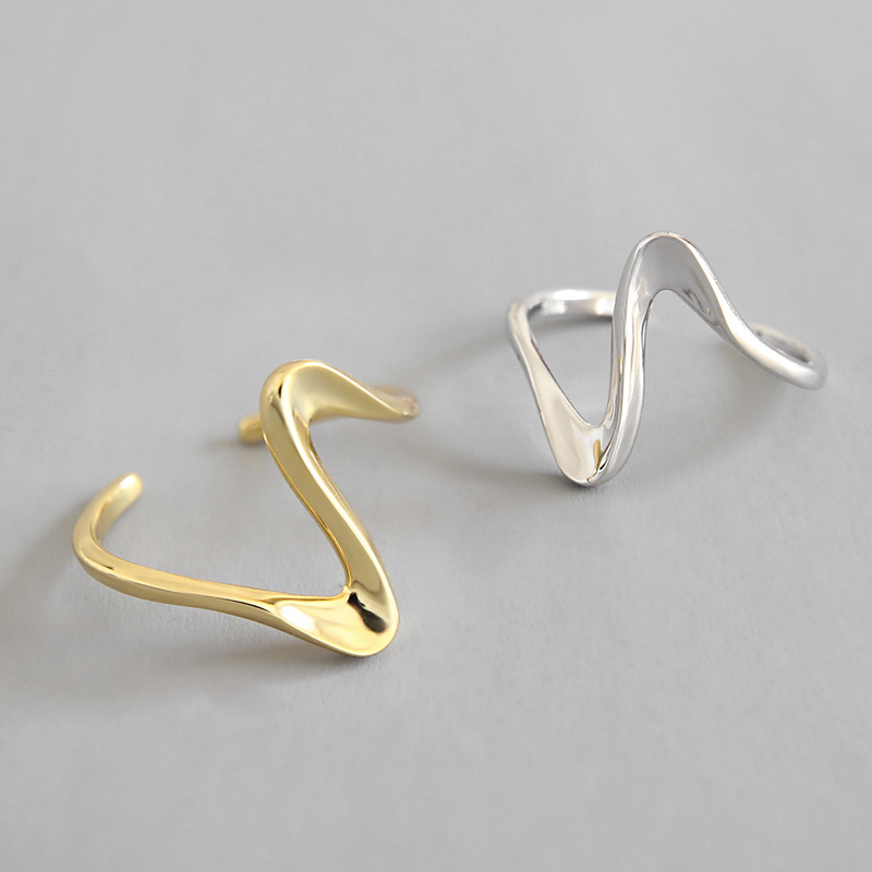 Korean fashion simple sterling silver ladies wave finger ring