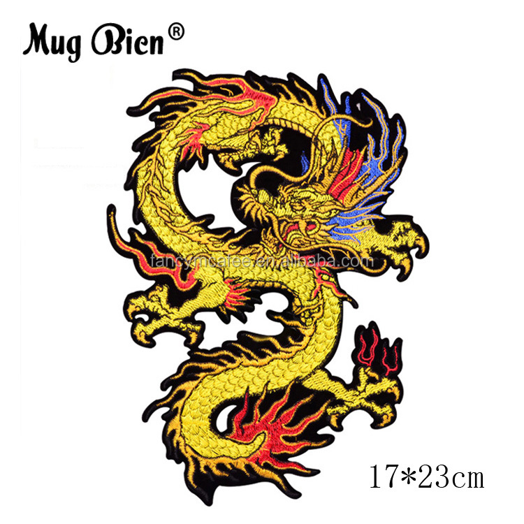 Custom Made Chinese style large embroidered sewing clothes Dragon patch