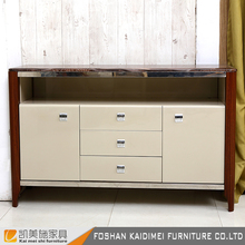 Marble top modern sideboard with stainless steel handle