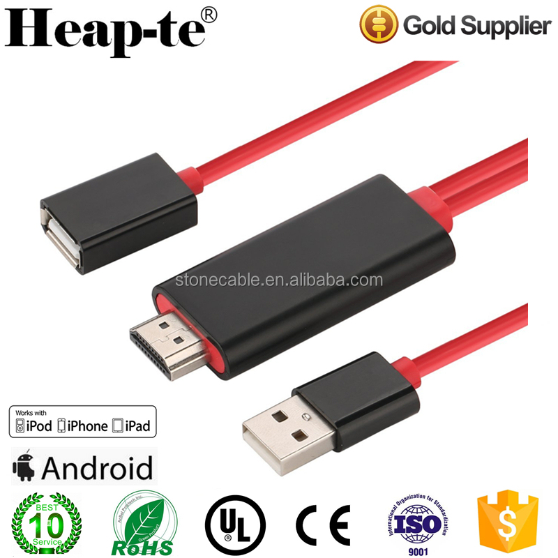 For Lightning to HDMI Adapter Cable, 8pin to HDMI Plug and Play Digital Audio 1080P HDTV Adapter for iPhone 6 7 plus s5