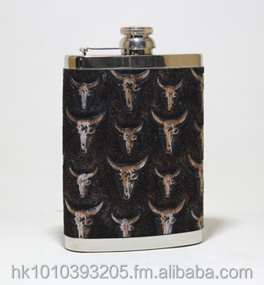 STAINLESS STEEL POCKET / HIP FLASK WITH GENUINE LEATHER COVERING