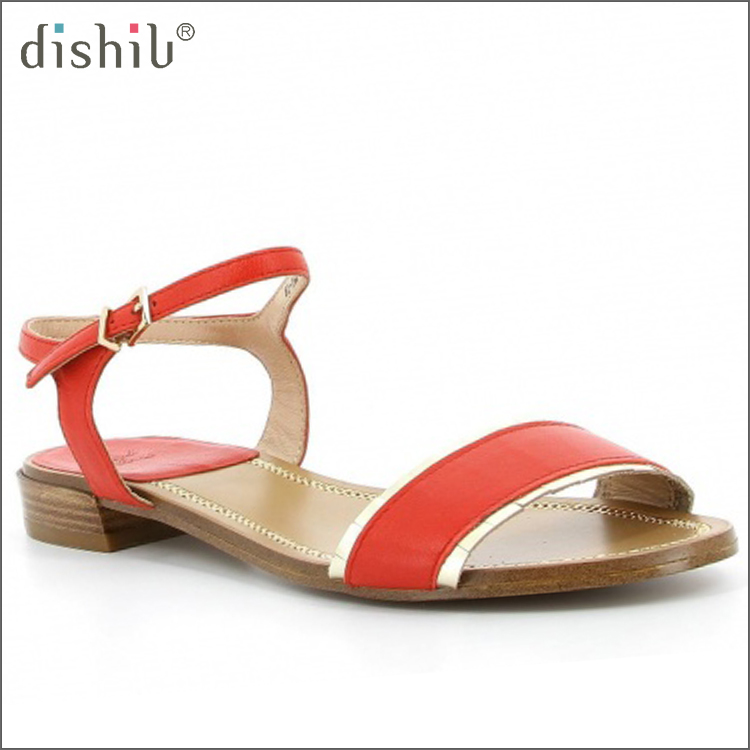OEM ODM Red genuine leather good quality comfortable flat sandals for ladies pictures
